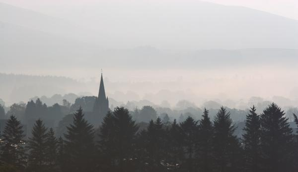 The town of Moffat, Dumfriesshire, Scotland, through the morning mist.