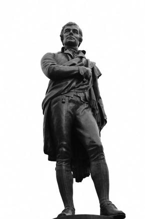 The statue of the poet Rabbie Burns