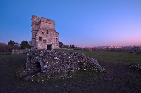 Donnington Castle at sunset