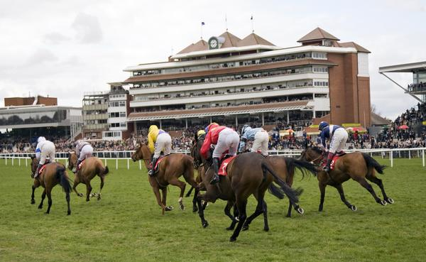 Jockeys race to the finish at Newbury Racecourse, Berkshire