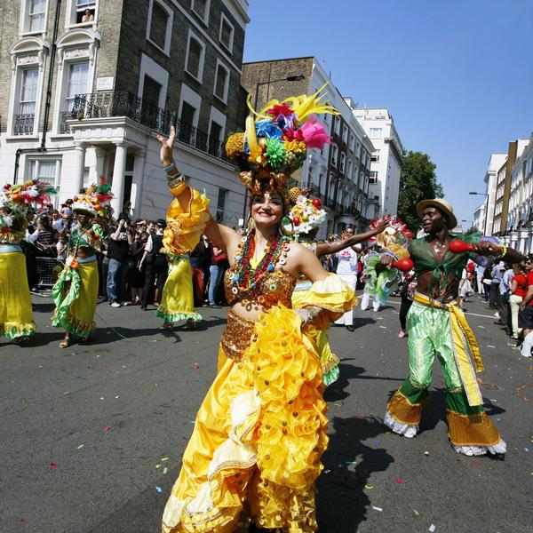Performers in the Notting Hill Carnival which takes place every August