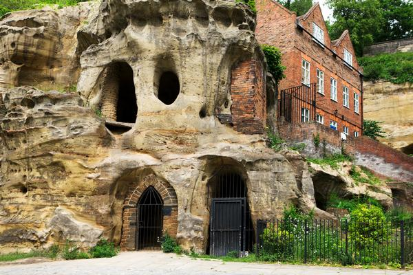 Entrance to Nottingham Caves showing brick built building set into the hillside