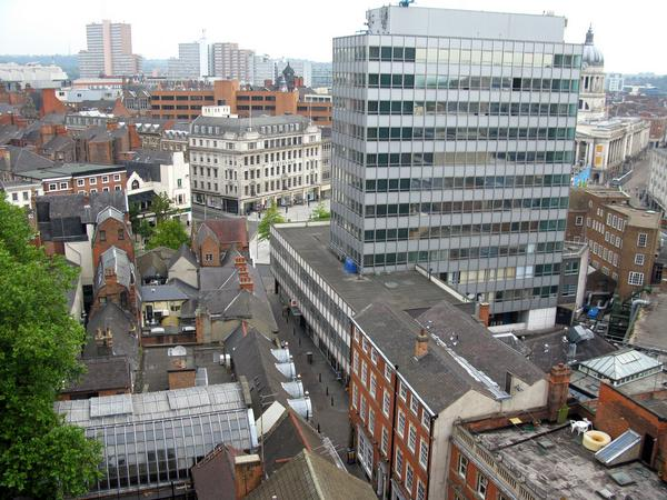 View of Nottingham tower blocks from a high vantage point