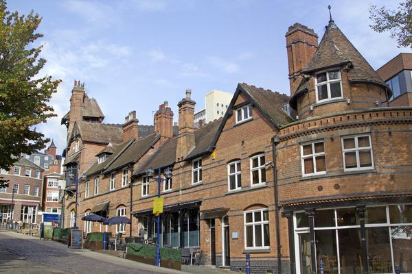 Row of Victorian red-brick buildings