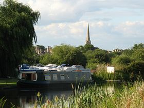 St.Peter's Church spire from Oundle Marina © Roger Gurney