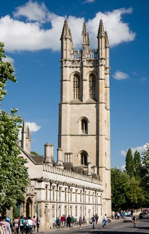 Magdalen College Tower on a sunny day