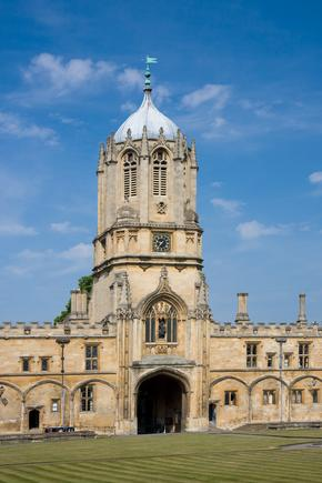 Tom Tower, Christ Church College against a blue sky