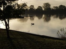 Early morning over one of the lakes that form the Cotswold Water Park © Richard Lutwyche