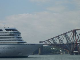 Cruise Ship berthed at The North Cantilever from South Queensferry © Mrs Calmyn Lamb