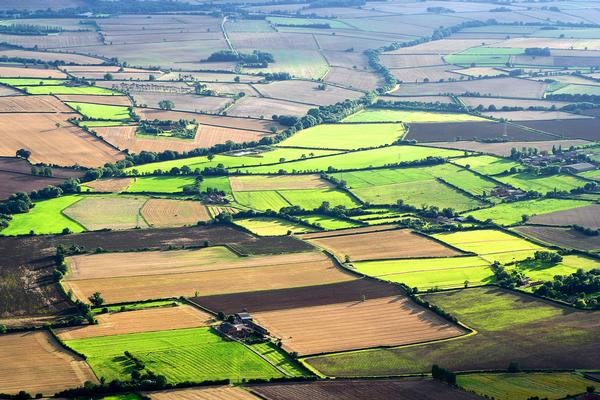 Aerial view of farmland around Southwell, Nottinghamshire