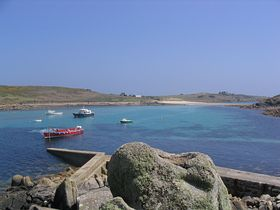 St Agnes little harbour - across to Gugh - photo by Chris Bradley