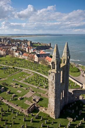 An unusual aerial view of St Andrews, Scotland, with ruined cathedral in the foreground