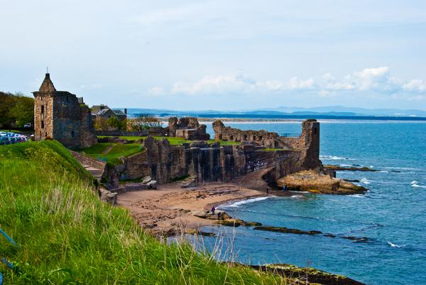 Ruins of St Andrews Castle in St Andrews, Scotland