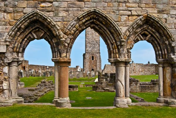 Ruins of St Andrews Cathedral in St Andrews, Scotland