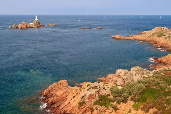 Distant View of Corbiere Lighthouse and the Rocky Coast, Jersey, The Channel Islands