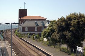 Starcross railway station, Brunel Tower and River Exe