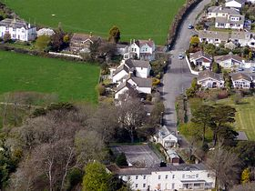 From a helicopter showing the Stoke Lodge Hotel and Venn Lane. © Peter McLeland