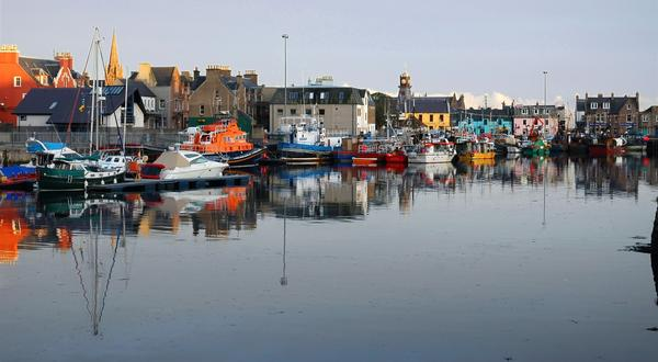 Stornoway harbour at dusk