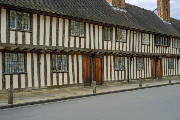 Row of half-timbered almshouses in Stratford-upon-Avon