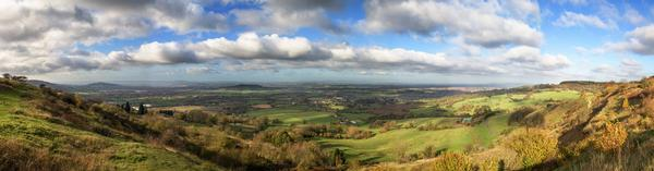 Cotswold Farmland Panorama on a bright sunny day