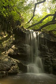 Middle waterfall in the Pwll-yr-Wrach Nature Reserve near Talgarth © Tim Hughes