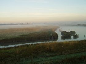 view across the Wick Marshes from Tollesbury, early morning © Sarah Clare