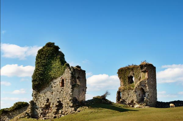 Ruins of Gleaston Castle, Ulverston, on a bright sunny day