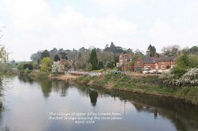 The village of upper Arley viewed from the foot bridge crossing the river seven April 2009  © Alan