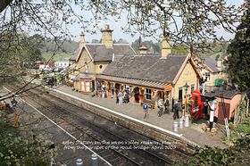 Arley Station on the seven valley railway, viewed from the parapet of the road bridge. April 2009  © Alan