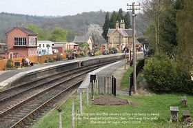 Arley Station on the seven valley railway viewed from the end of platform two, looking towards the road bridge. April 2009  © Alan