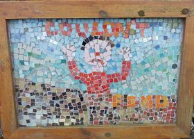 One of the mosaics on a walk around West Witton. (The Burning of the Bartle)  © Alison Bishop