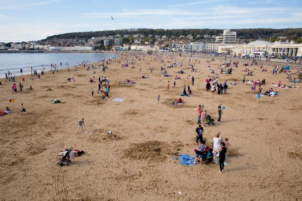 Weston-Super-Mare Beach on a hot sunny Spring Bank Holiday